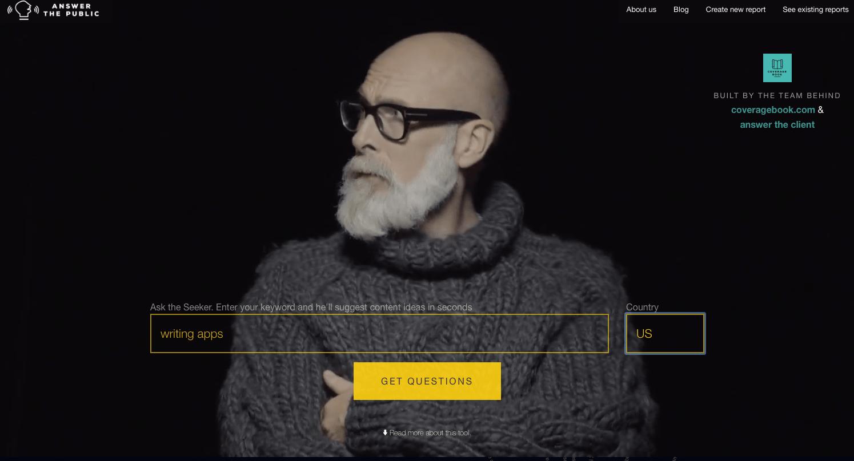 Answer the Public Writing App Screenshot