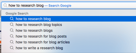 Google Autofill Results for How to Research Blog