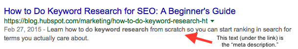 Keyword targeted title and meta description.