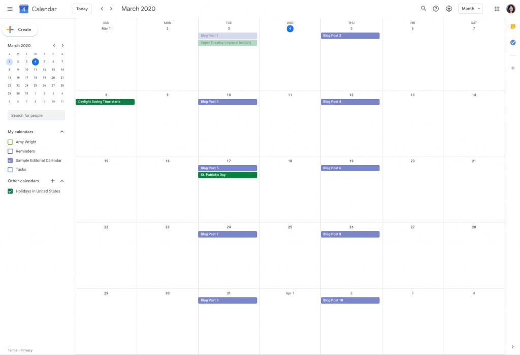 Example of a Google editorial calendar.