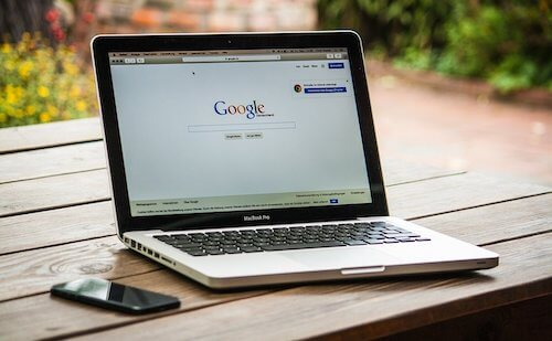 Laptop showing Google to illustrate professional SEO services.