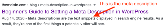 Screenshot of a search engine result to show the meta description.