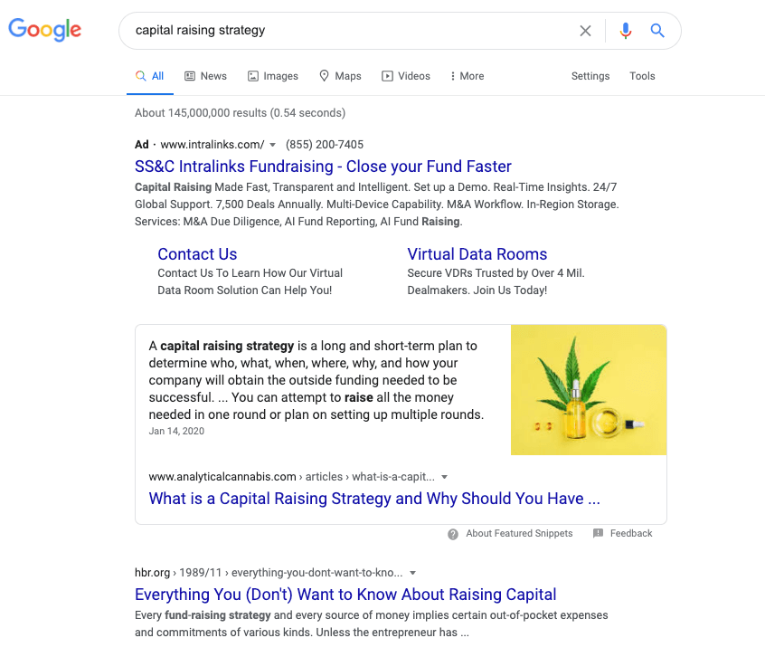 "Google search results for ""capital raising strategies."""
